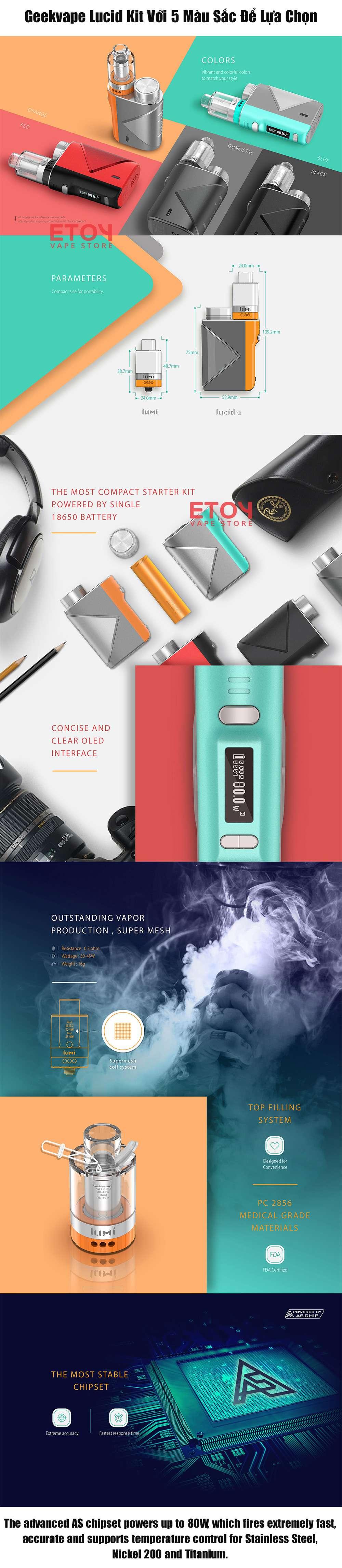 vape kit siêu khói giá rẻ lucid kit